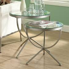 innovative glass end table set metal and glass 20 diameter round end table
