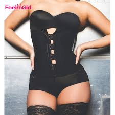 Us 15 58 20 Off Feelingirl Latex Waist Trainer Women Plus Size Slimming Belt Zipper Waist Cincher Steel Boned Body Shaper Tummy Control Corset C In