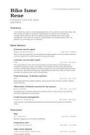 Customer Service Agent Resume samples