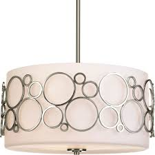 progress lighting bingo 18 in 3 light brushed nickel etched glass drum mini chandelier