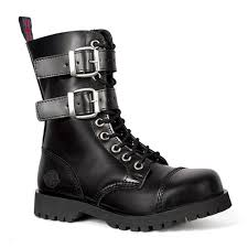 nevermind 10 eye leather buckle boots