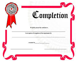 Certificate Of Completion Templates Blank Certificate Of Completion Template