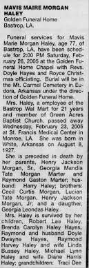 Obituary for Mavis Marie Morgan Haley, 1927-2005 (Aged 77) - Newspapers.com