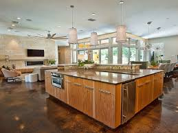 Appealing White Drum Pendant Lamps Over Large Kitchen Island As Large Kitchen Island Floor Plans