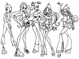 Small Picture Winx Club Coloring Pages for Kids Batch Coloring