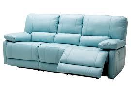 a maui light blue reclining sofa leather match