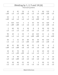New 2012-12-17! Division Worksheet -- Dividing by 1, 2, 5 and 10 ...