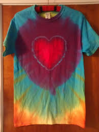 Tie Dye Heart Design Tie Dye Short Sleeve T Shirt Heart Design 100 Heavy Cotton Handmade Small