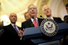 u s senate majority leader mitch mcconnell speaks during a news conference following party policy lunch meeting