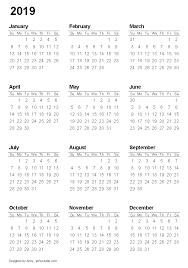 2020 Year At A Glance Calendar Template 2019 Full Year Calendar Template Weareeachother Coloring