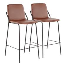 lumisource stefani industrial 25 in brown faux leather counter stool set of 2