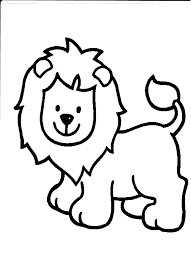 Simple Coloring Pages Cute Lion Baby