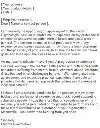 psychologist cover letter psychologist covering letter sample