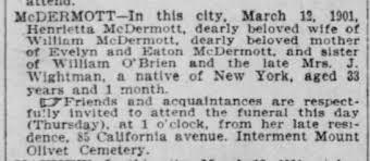 1901 - McDermott, Henrietta - died 12 Mar 1901, age 33 years ...