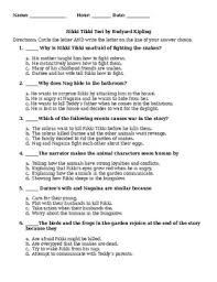 rikki tikki tavi test and answer key by ms lee loves ela tpt rikki tikki tavi test and answer key