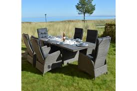 Ploß Rocking Dining Set Graubraun Tisch 220x100 Cm 6 Sessel