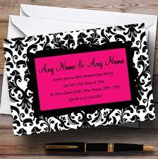 Pink Black White Damask Wedding Anniversary Party Customised Invitations