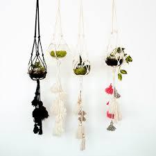 Hanging Planters Handmade Hanging Planters With Pom Poms Chic Basta