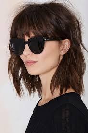 Short Razor Cut Hairstyles Long Razor Cut Brunette Bob With Bangs Hair Pinterest