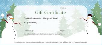 Holiday Gift Certificates Snowman Holiday Gift Certificate