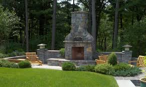 this large outdoor fireplace