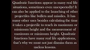 projectiles real life s of quadratic functions