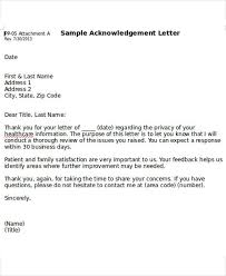 Acknowledgement Business Letter Sample Sample Professional Letter