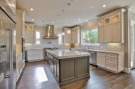 u shaped luxury kitchen with marble countertops