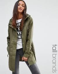 noisy may tall padded parka coat with contrast lining khaki women coats noisy may parka