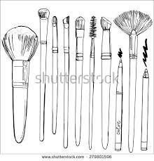 a set of brushes for make up painted line sketch tool vector sketch