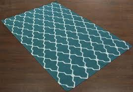 rugsville moroccan trellis teal blue wool 13651 rug