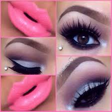 these silver eyeshadow and bright pink lipstick is so perf makeup makeup bright pink lipsticks and pink lipsticks