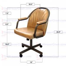 casual dining chairs with casters: caster chair company c empire casual rolling caster dining chair with upholstered arms and buff polyurethane seat and back