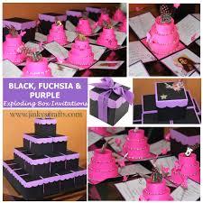 Black And Purple Invitations Purple Fuchsia Black Mis Quince Exploding Box Invitation