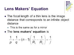 53 lens makers equation chapter 36 image formation ppt