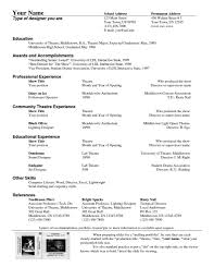Resume Letters Theater Resume Template For First Time Job Seekers