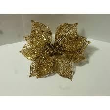 Weihnachtsstern Textilblüte Gold 17cm