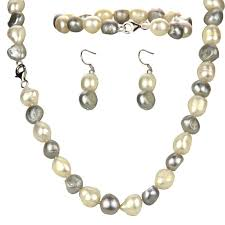 11mm aa baroque pearl pearl set includingnecklace bracelet and earring