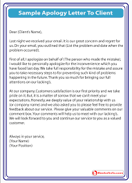Customer Service Apology Email Sample Apology Letter To A Client For Service Problem
