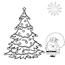 Santa And Big Christmas Tree Coloring
