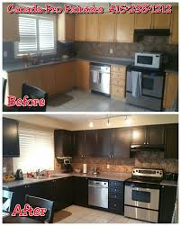 Outdated Kitchen Updated By Spraying With Dark Espresso Lacquer In