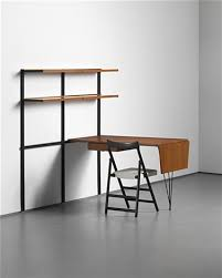 intergrated modular shelving unit and desk with folding chair 3 works by osvaldo borsani