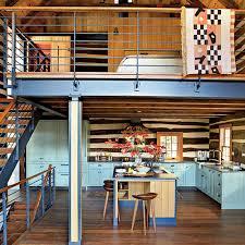 Historic Log Cabin Renovation Room Kitchen Metal Stair Railing