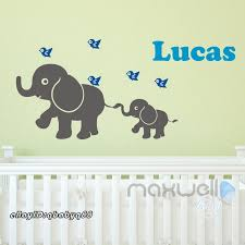 details about baby elephant birds personalised name wall decals removalbe kids nursery sticker