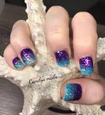 Purple And Teal Nail Designs Teal Purple Fade Mermaid Acrylic Nails Purple Nail Art