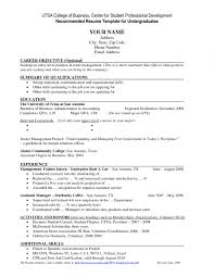 Professional Resume For College Student