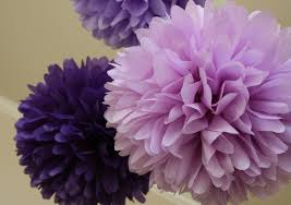 Lavender Baby Shower Decorations Pansy Tissue Paper Poms Weddings Bridal Shower Baby