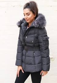 Quilted Longline Hooded Puffer Coat with Faux Fur Trim & Belt in ... & Harper Quilted Longline Hooded Puffer Coat with Faux Fur Trim & Belt in  Grey - One Adamdwight.com