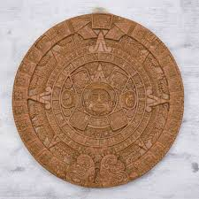 ceramic archeological wall plaque handmade in mexico aztec sun stone in terracotta