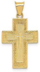 14k yellow gold textured reversible lord s prayer in spanish cross pendant